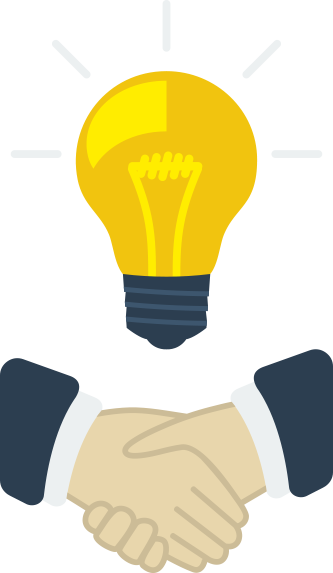 Handshake with Lightbulb Illustration